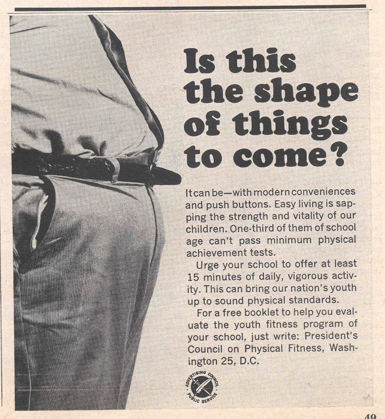 Vintage government public service ad about exercise overweight.