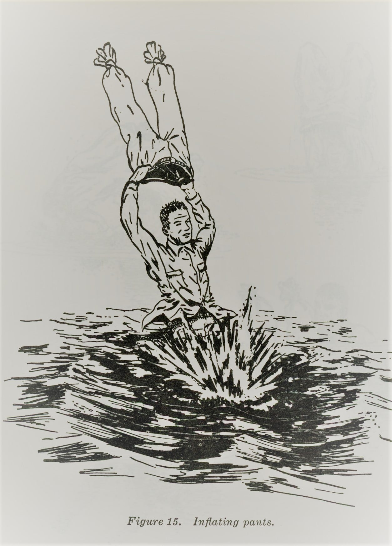 vintage illustration using pants as flotation device in water