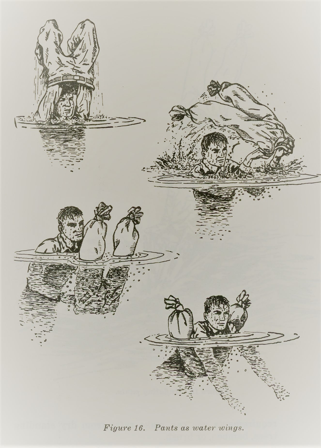 vintage survival illustration using pants as flotation device