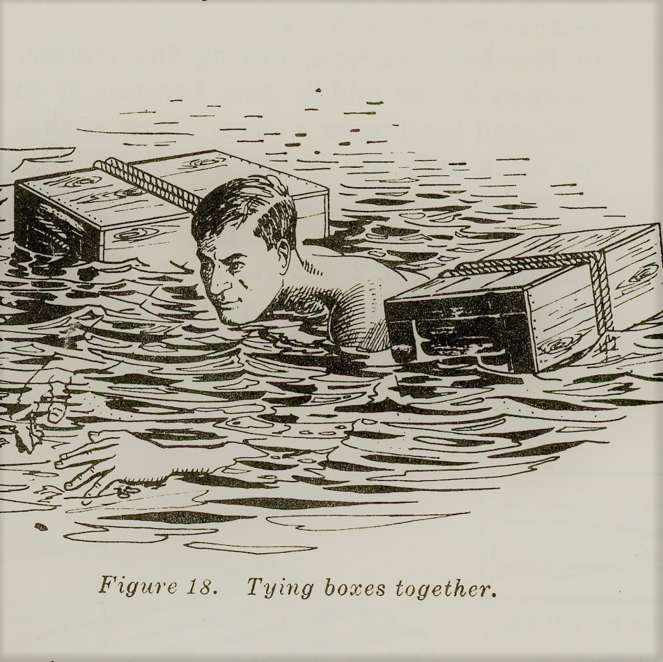 vintage survival illustration using boxes as flotation device
