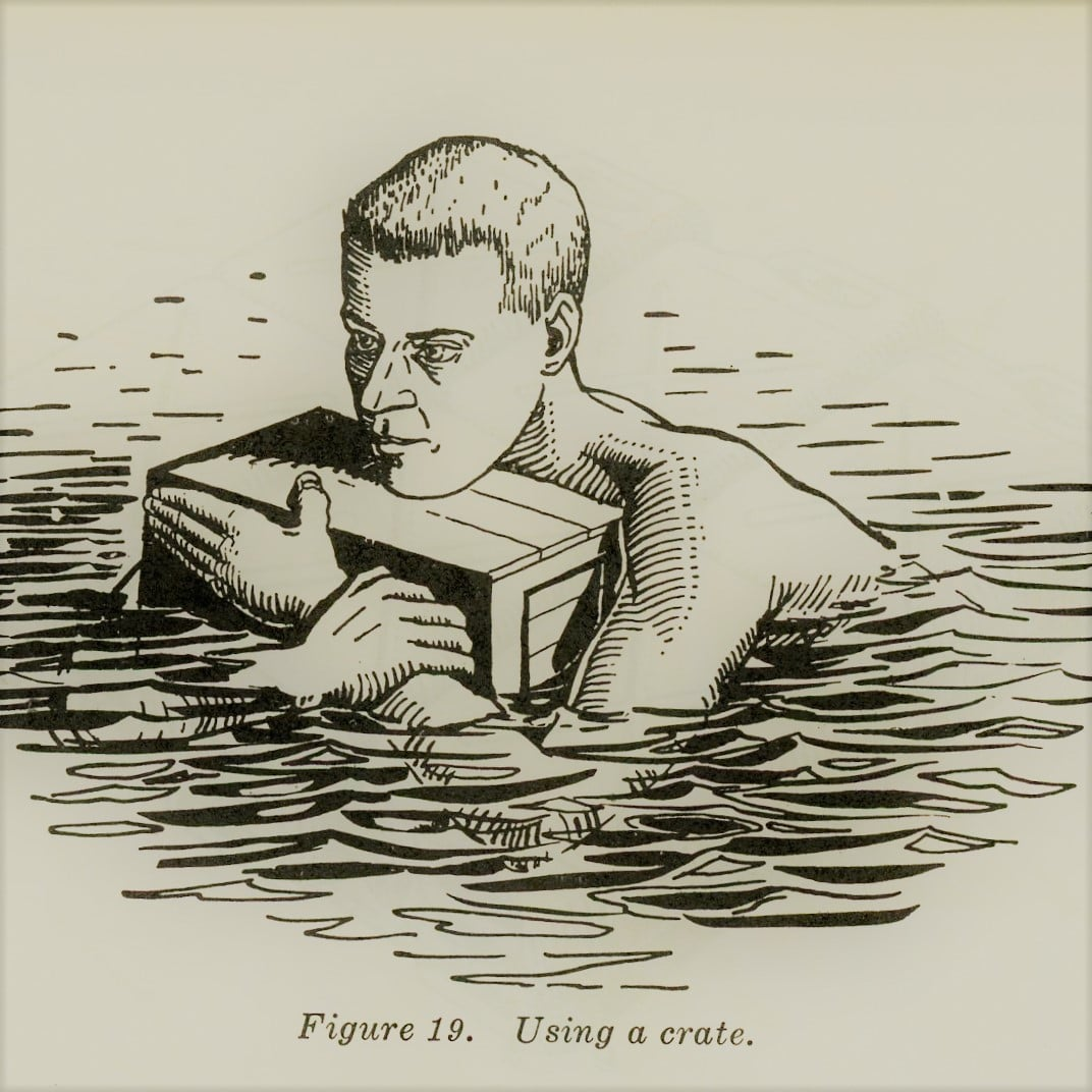 vintage survival illustration using a crate as a flotation device