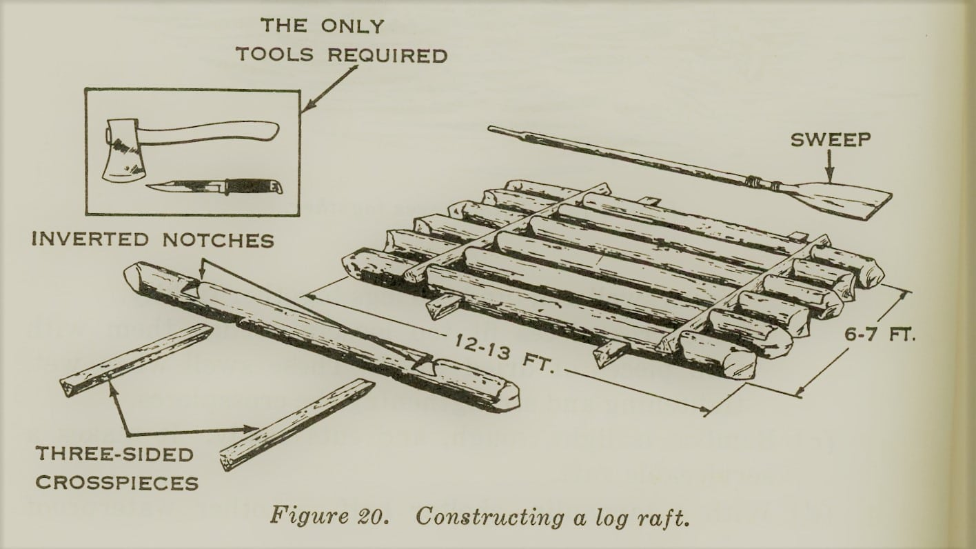 vintage survival illustration constructing log raft