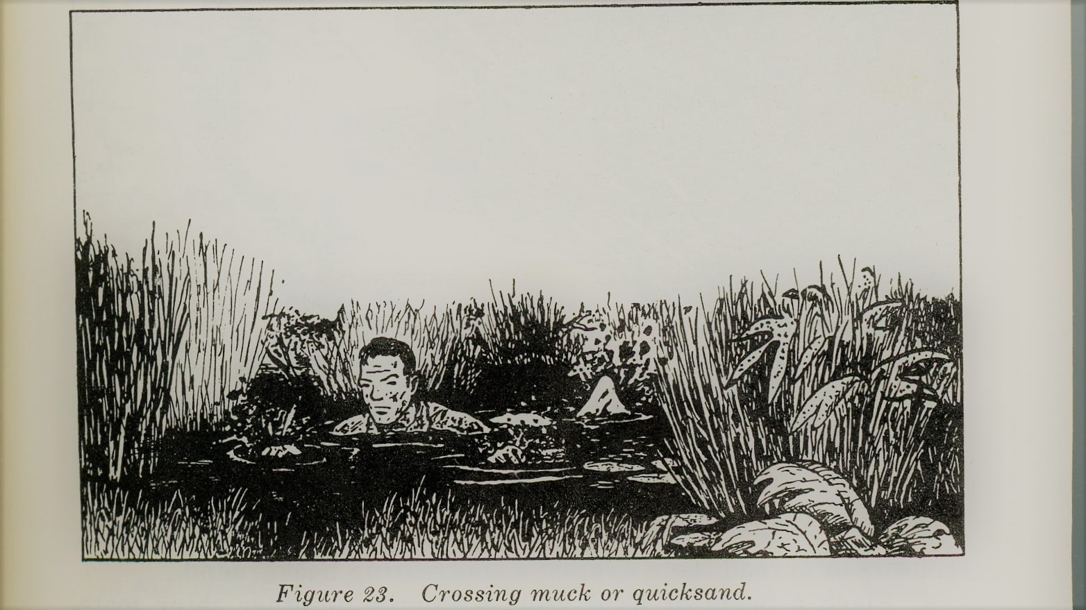 vintage survival illustration crossing wading through quicksand