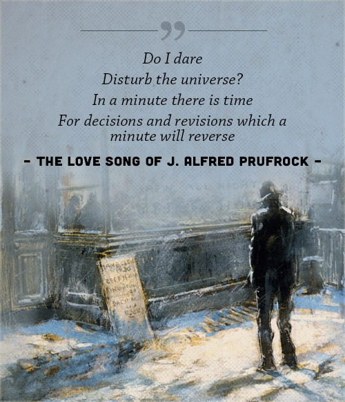 The long song of j alfred prufrock, poem by ts eliot, with a cover of man standing in a street.