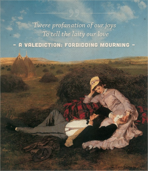 A valediction forbidding mourning, poem john donne, with a cover of a couple holding hands.