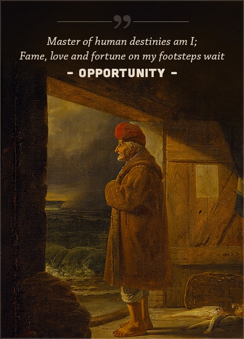 Opportunity, poem by john james ingalls, with a cover of Old man standing on the door watching ocean waves.