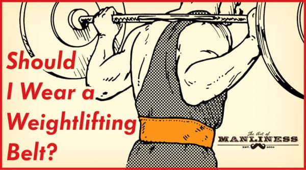 Weightlifter wearing weightlifting belt and a vest illustration.
