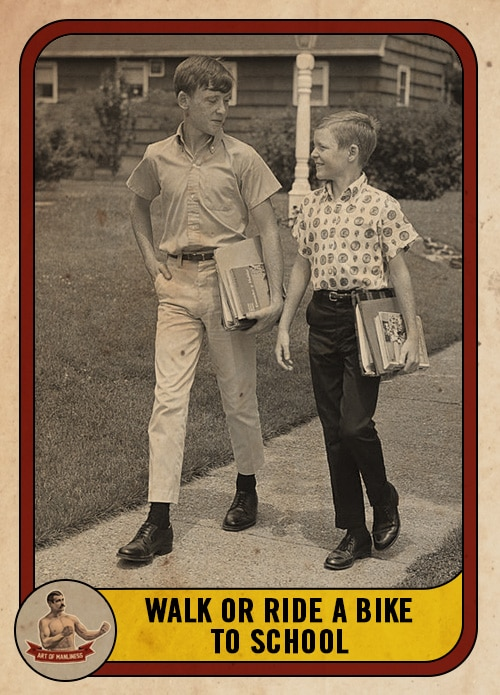 vintage boys walking to school with books in hand