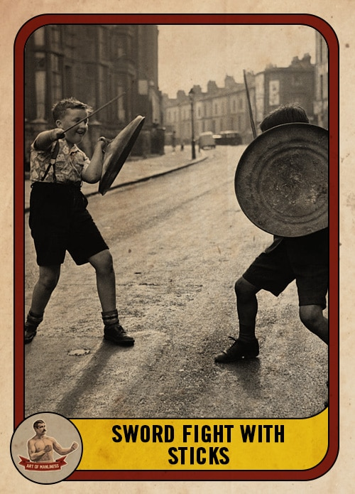 vintage boys swordfighting with sticks in the street