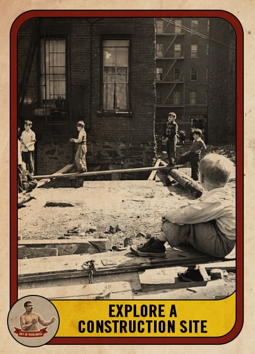 vintage boys playing on a construction site