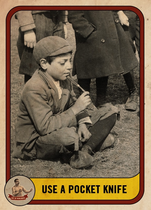 vintage boy playing mumbley peg with pocket knife