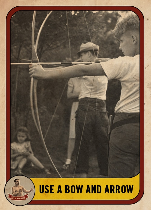vintage boys shooting a bow and arrow