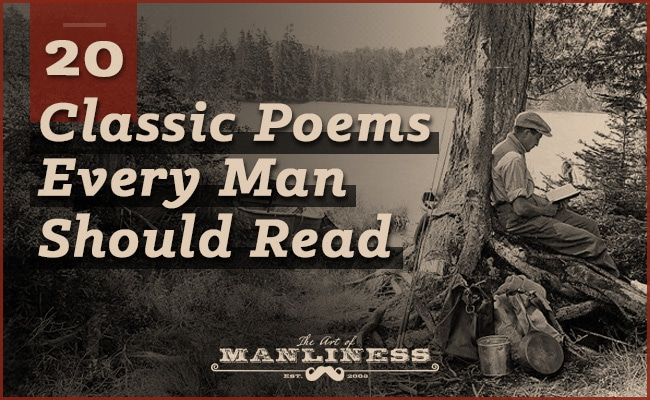 20 poems every man should read | young man leaning against a tree reading