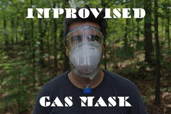 Improvised gas mask tutorial with a man wearing a custom made mask.