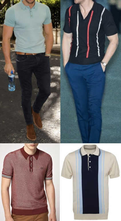 Four different style of polo shirts.