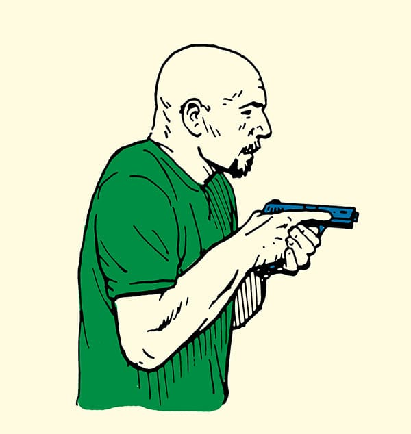 Man holding pistol in high ready position illustration.