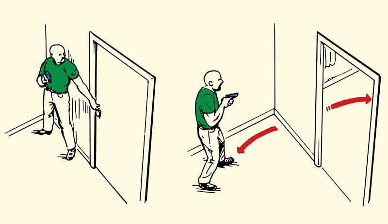 Man clearing doorway of an intruder illustration.