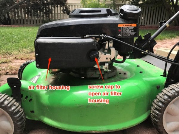 How to locate and replace air filter on lawn mower.