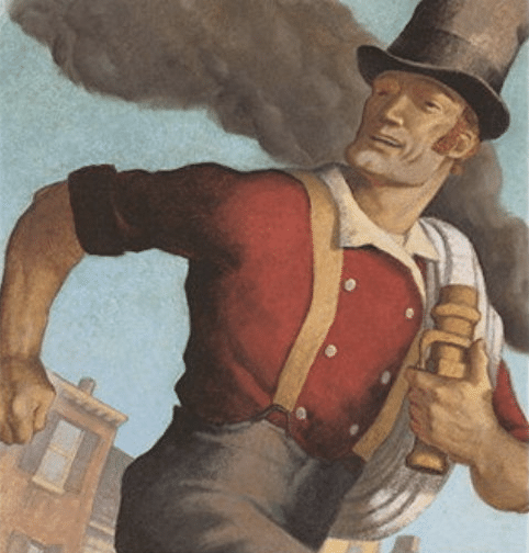 mose humphrey legendary firefighter tall tale drawing illustration