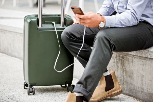 Luggage with charging port.