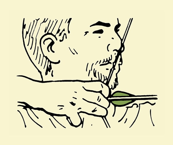 archery anchoring string to a point on face illustration