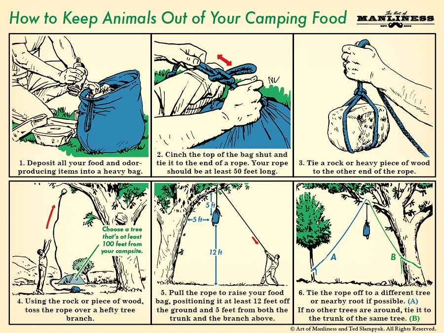How to hang food while camping illustration step by step with diagram.