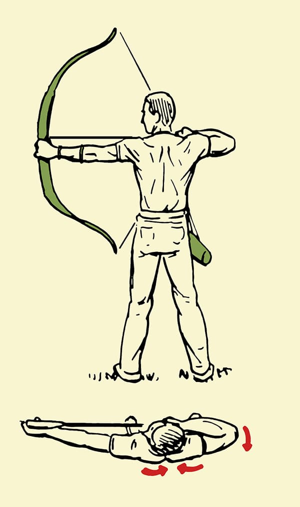 archery man drawing bow and arrow back illustration