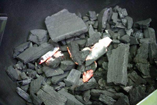 Burning charcoal.
