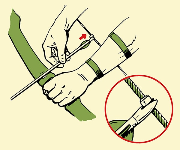 archery nocking arrow illustration