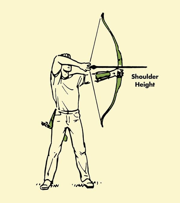 archery man drawing back bow and arrow illustration