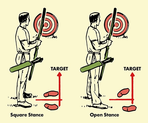 archery stance for shooting bow and arrow illustration