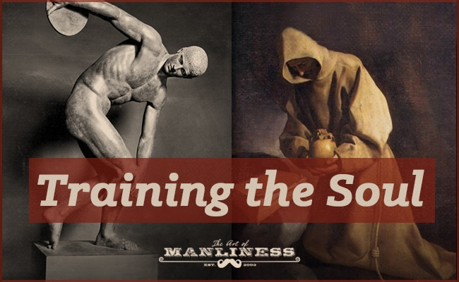 training the soul greek statue and monk side by side