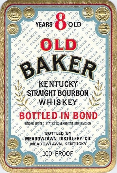 old baker bourbon label kentucky straight bourbon whiskey