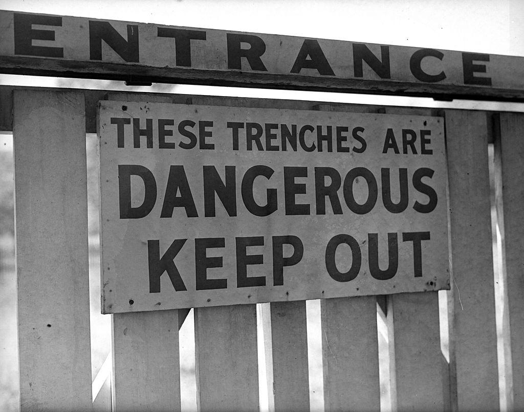Danger signboard.