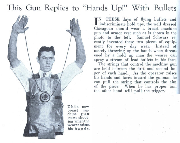 vintage gun replies to hands up with bullets self defense vest ad advertisement
