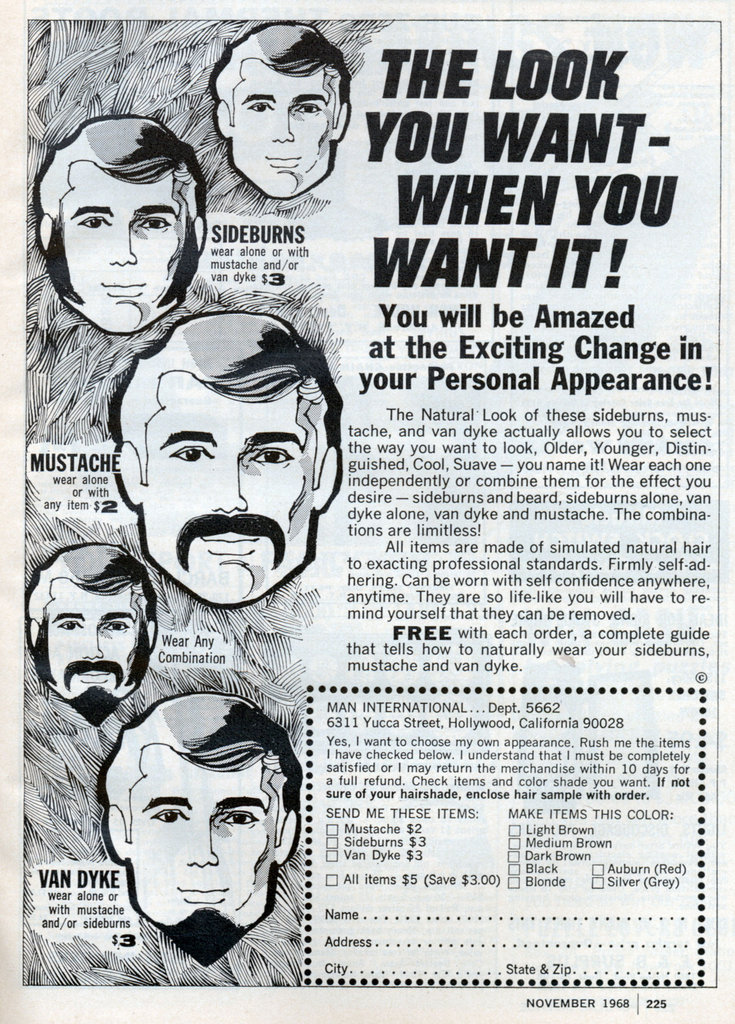 vintage paste on facial hair ad advertisement
