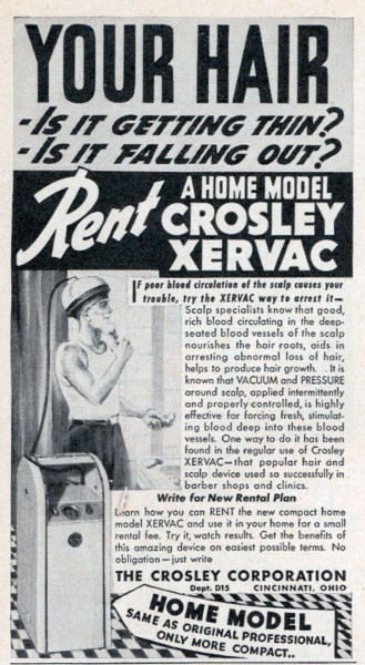 crosley xervac vintage ad advertisement hair vaccum