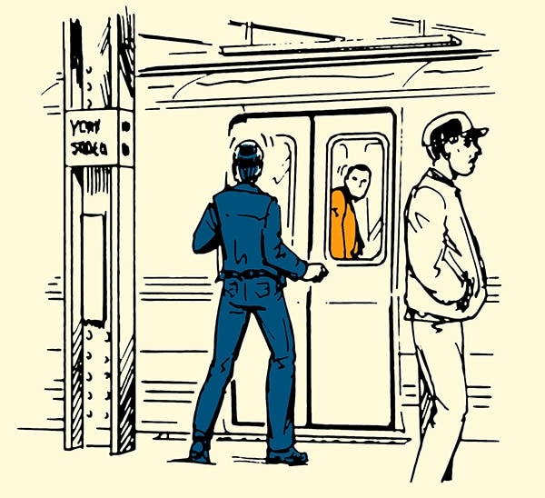 Man escaping being followed onto subway illustration.