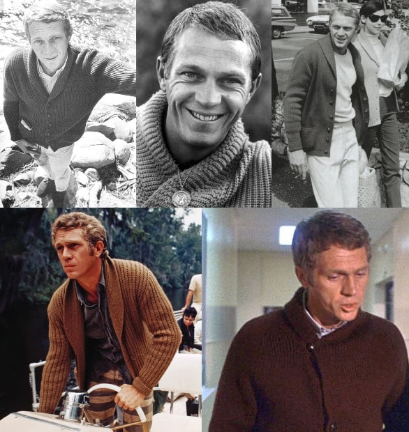 steve mcqueen collage wearing shawl collar cardigans