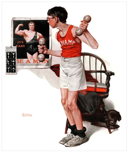 boy lifting weights normal rockwell painting