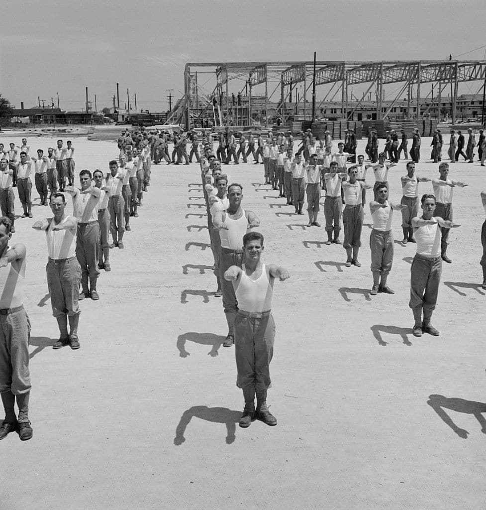 vintage soldiers PT exercises in formation