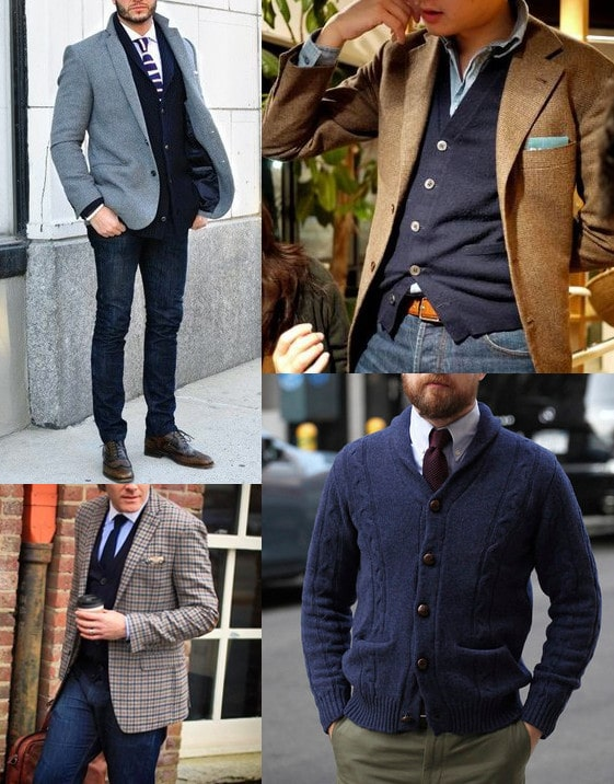 114993080ab Layering a sport coat or blazer on top of your cardigan heightens the  formality of your get-up a degree more. Such a look is perfect for cold  days  you can ...