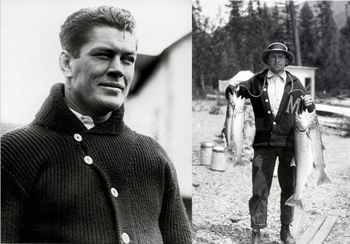 gene tunney wearing cardigan and fisherman wearing cardigan