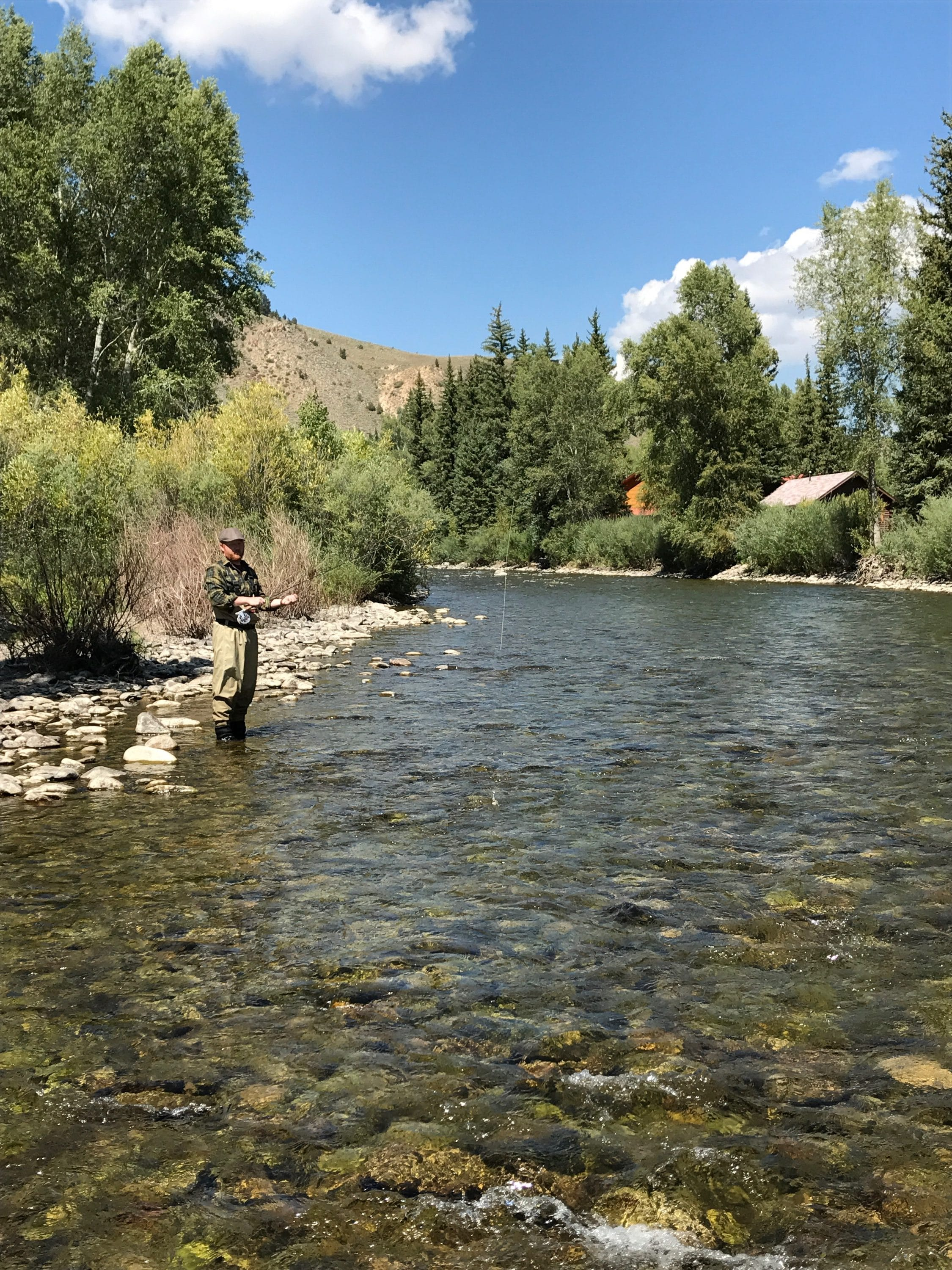 man casting fly into east river colorado fly fishing