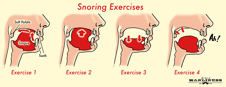 Snoring exercises to strengthen jaw throat muscles.