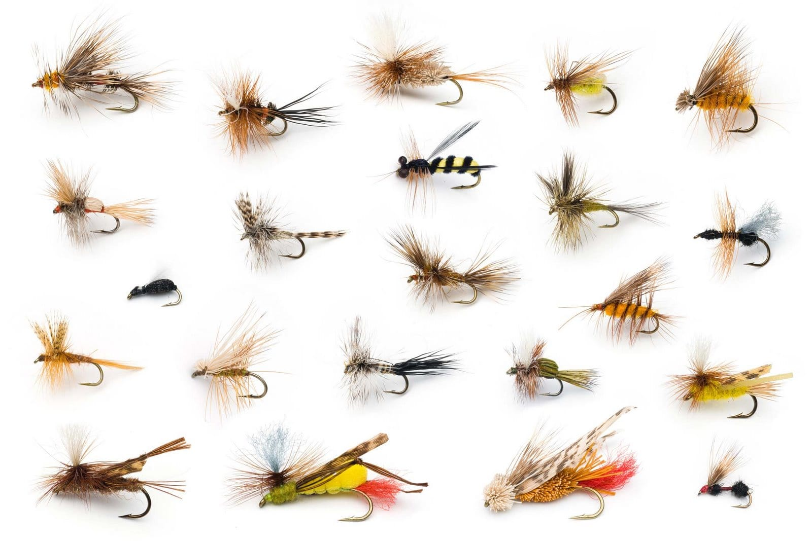 assortment of fly fishing flies lures