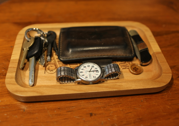engraved wooden catchall for keys wallet edc