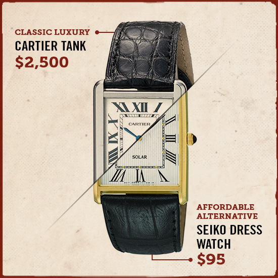 Cartier tank luxury watch alternative.