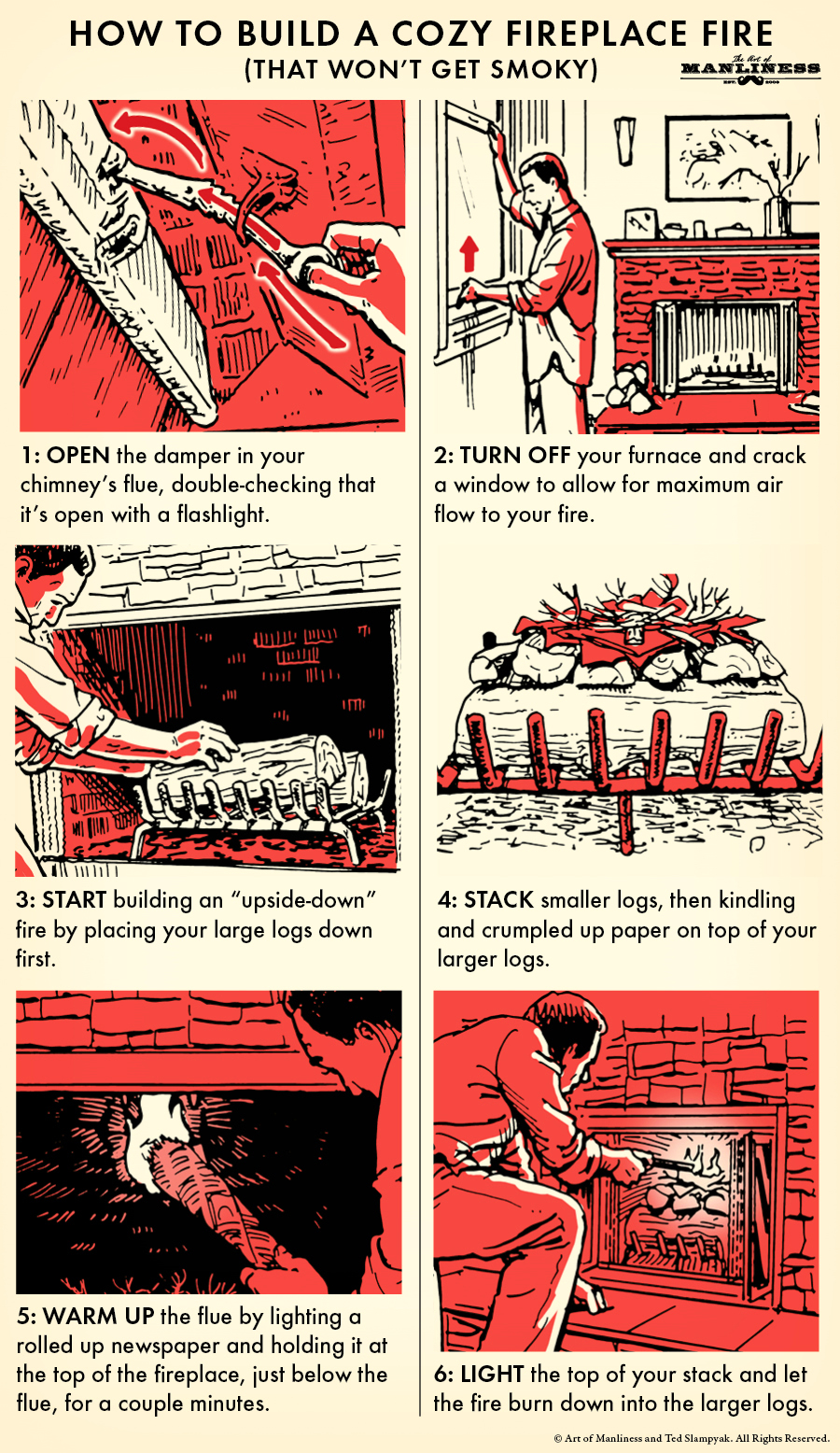 make a smoke-free fireplace fire illustration