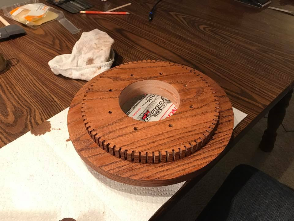 applying finish to base for diy crankshaft lamp